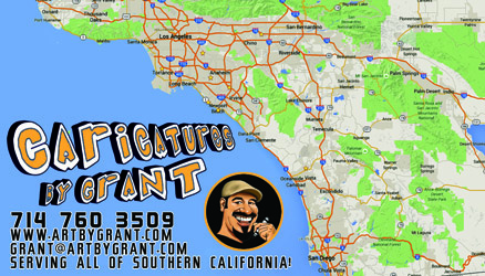 caricaturist business card for los angeles orange county