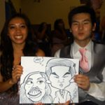 party cartoonist drawing couple