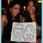 two girls smile caricature