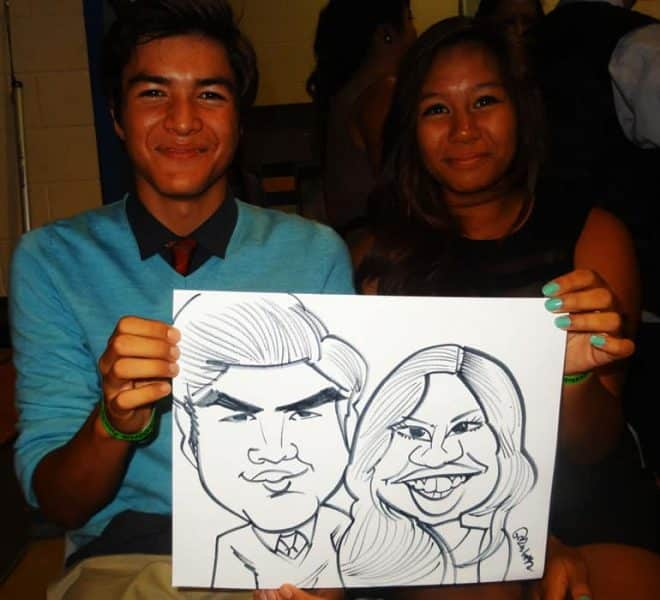 party guests event caricatures