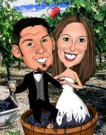 married couple wedding invitation caricature